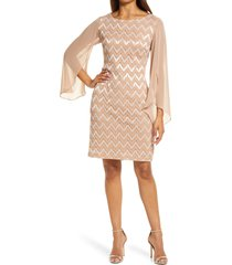 women's connected apparel lace overlay sheath dress, size 8 - beige