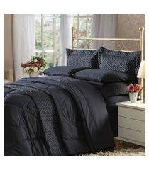 cobre leito casal plumasul soft touch percal 300 fios preto