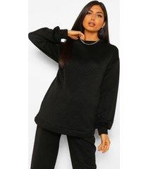 zwangerschaps gewatteerde oversized sweater met stiksels, black