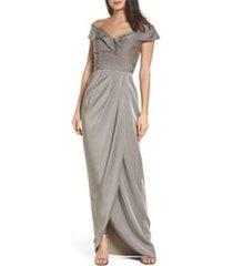 women's la femme surplice off the shoulder column gown, size 20 - grey