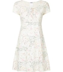 chanel pre-owned printed skater dress - white