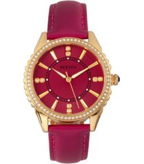 bertha quartz clara collection hot pink leather watch 39mm