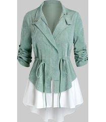 plus size corduroy drawstring roll up sleeve jacket