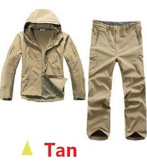men army tactical tad gear soft shell camouflage outdoor waterproof jacket set