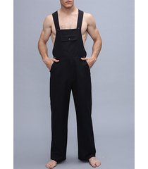 hombre pantalón con tirantes de color liso pantalones overol
