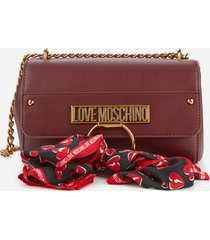 love moschino women's cross body bag with scarf - burgundy