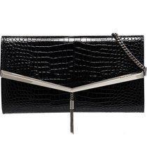 jimmy choo embossed crocodile tassel clutch bag - black