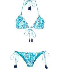 brigitte triangle bikini set - blue, white, navy
