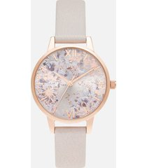 olivia burton women's abstract floral midi pearl watch - pink & rose gold