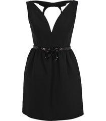 miu miu sequin-embellished belted mini dress