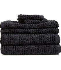 dkny 6-piece bath towel, hand towel & washcloth set in black at nordstrom