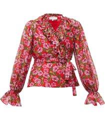 alix ruffled floral-print muslin blouse