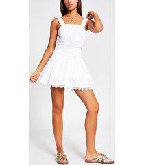river island womens white shirred frill mini beach dress