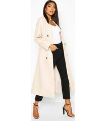 tall double breasted longline wool coat, cream