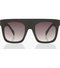 matte black oversized flat top sunglasses, black