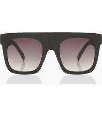 matte black oversized flat top sunglasses, black