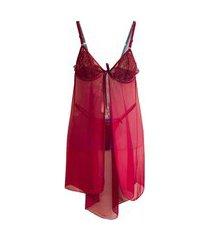 camisola com calcinha de tule - ncmtl007-verm-gg vermelho