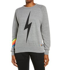 aviator nation bolt chevron stripe sweatshirt, size x-small in heather/neon rainbow at nordstrom