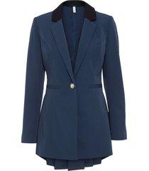blazer lungo con bottone gioiello (blu) - bodyflirt boutique