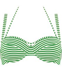 holi vintage plunge balcony bikini top | wired padded green-ivory - 32c