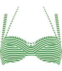 holi vintage plunge balcony bikini top | wired padded green-ivory - 40dd/e