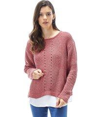 sweater chenille blusa mujer rosa oscuro corona