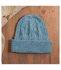 100% alpaca knit hat, 'comfy in blue' (peru)