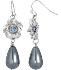 2028 women's silver tone blue crystal flower with grey imitation pearl drop earring