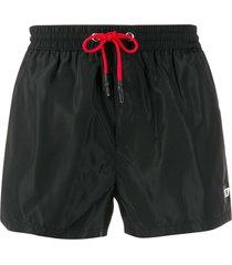 diesel drawstring logo patch swim shorts - black