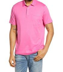 men's bugatchi pima cotton short sleeve polo shirt, size x-large - pink