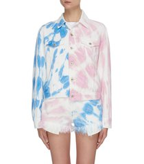 'paula's ibiza' asymmetric contrast tie dye denim jacket