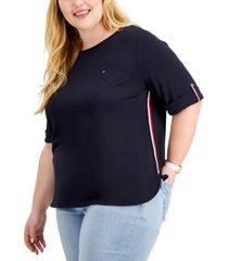 tommy hilfiger plus size roll-tab t-shirt