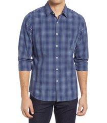 men's move performance apparel trim fit plaid button-up shirt, size x-large r - blue