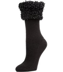 elegant rib fancy cuffed women's crew socks