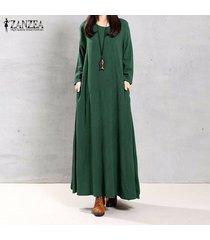 zanzea mujeres otoño retro vestido o-cuello de manga larga bolsillos botones decoración sólido de algodón largo maxi elegante vestidos (verde) -verde