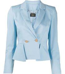 liu jo double-breasted peplum blazer - blue