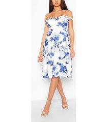 floral off shoulder midi skater dress, white