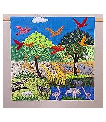 cotton blend patchwork wall hanging, 'animals in the jungle' (peru)