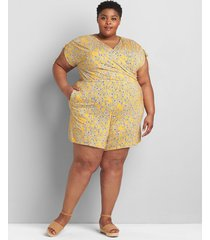 lane bryant women's drawstring cap-sleeve crossover romper 18/20 yellow floral