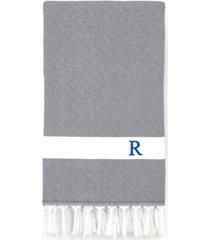 linum home personalized diamond pestemal gray beach towel bedding