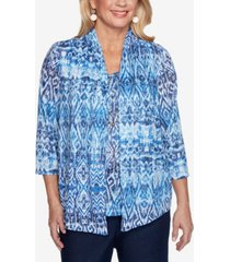 alfred dunner women's missy classics ikat print burnout two-for-one top