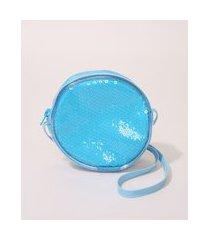 bolsa infantil com paetê alça fina azul