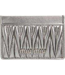 women's miu miu matelasse card case - metallic