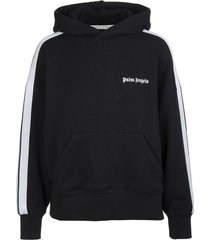 palm angels woman black hoodie with contrast logo and side bands