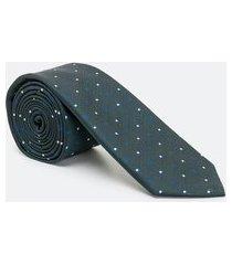 gravata regular estampa poá em poliéster | preston field | verde | u