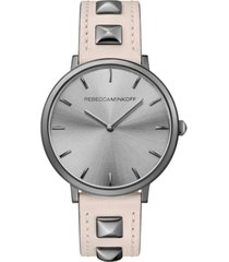 rebecca minkoff women's major blush leather strap watch 35mm