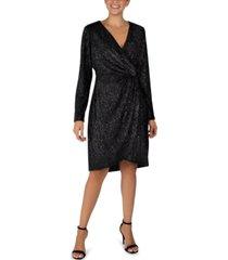 julia jordan velvet foil faux-wrap sheath dress