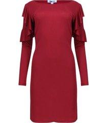 vestido unicolor manga larga con arandelas color vino, talla 8