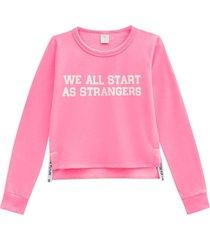blusão lecimar em moletom felpado outono inverno rosa