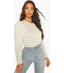 striped puff sleeve top, sage